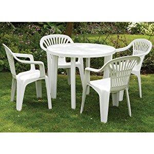 Table de jardin avec chaises en plastique - TopiWall