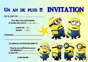 sur 5 ou 12 cartes invitation anniversaire LES MINIONS réf 277