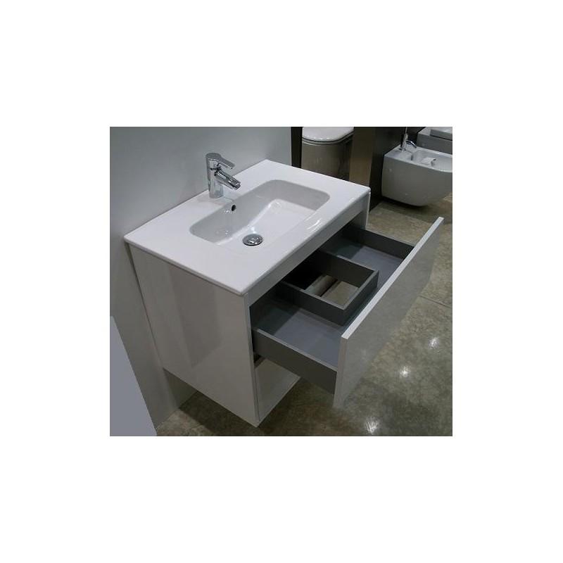 meuble de salle de bain suspendu blanc 70 cm avec 2 tiroirs meuble