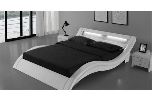 Lit de 2 places Lit Paddington Cadre de lit en simili cuir Blanc