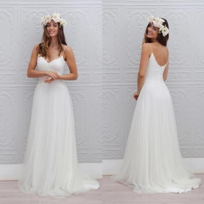 Robe de mariage mariée plage longue blanche bretelles spaghetti col V