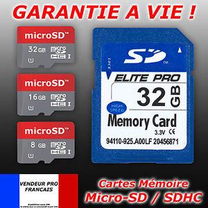 memoire SD microSD micro SDXC SDHC Class 6 10 ULTRA 4 8 16 32 64 Go Gb