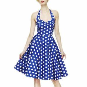 Robe Annees 50 Vintage Evasee Robe de Soiree Bleu Achat / Vente robe