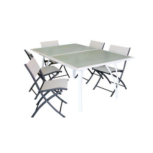 Dcb Garden Salon de jardin Table + 6 chaises, aluminium plateau