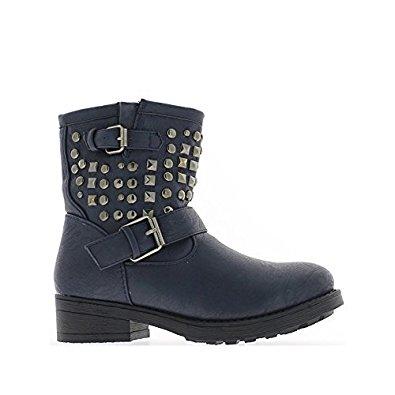 Bottines femme bleues à clous et talons de 4cm: Chaussures