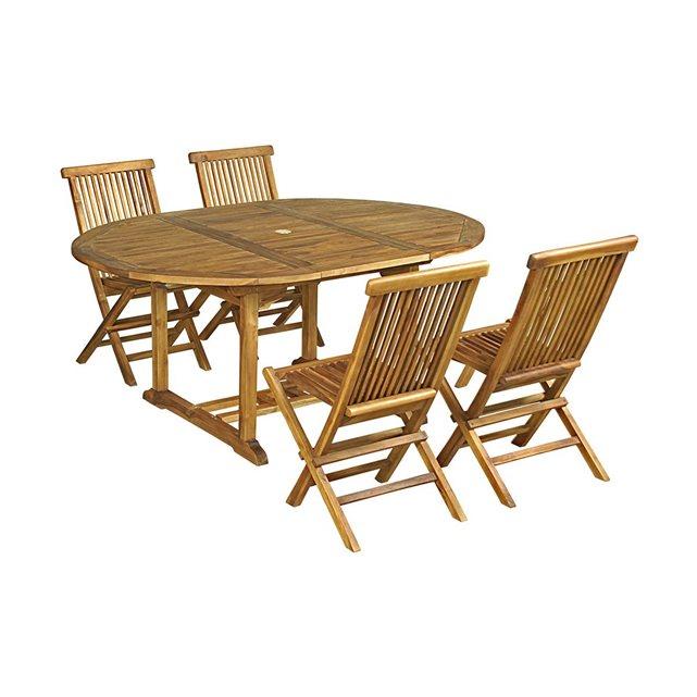 Salon de jardin 4 chaises en teck huilé bois clair Cemonjardin | La
