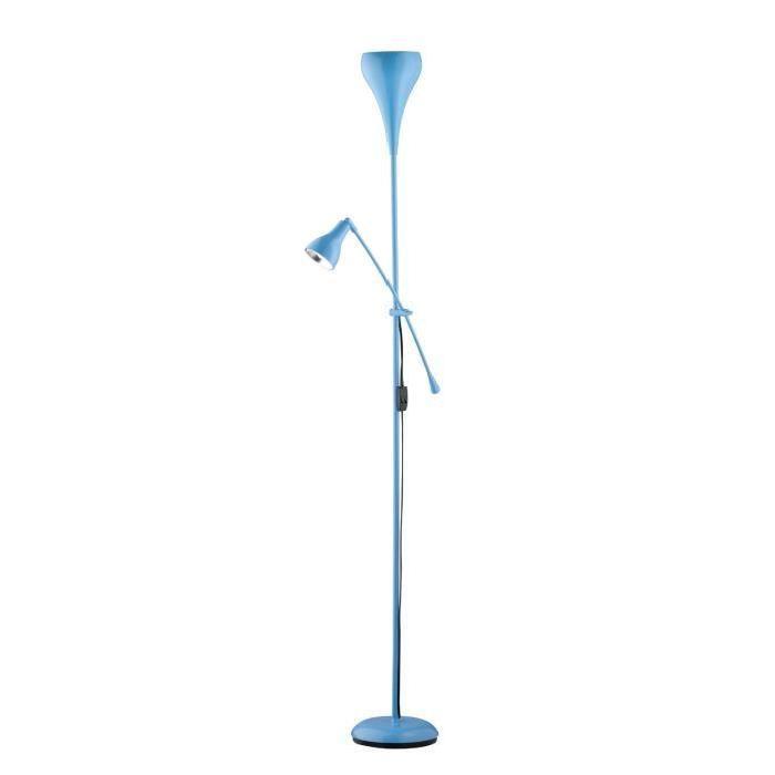 Lampadaire droit avec lampe de lecture adaptable à divers intérieurs