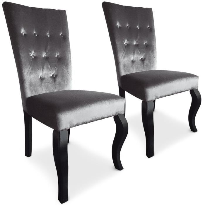 Lot de 2 chaises capitonnées Chaza Velours Argent Achat / Vente