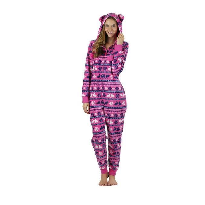 Grenouillère polaire capuche Femme pyjama Rose Achat / Vente
