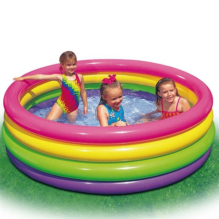 INTEX Piscine Gonflable Enfant Arc en ciel Sunset Glow 4 Boudins 168 X