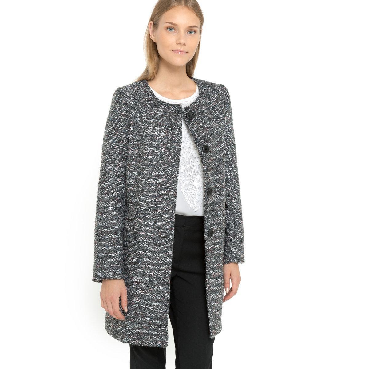 Manteau laine noir sans col