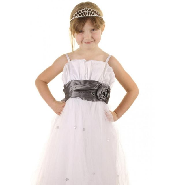 DYMASTYLE Robe Cérémonie Fille avec ruban gris coloris blanc | La