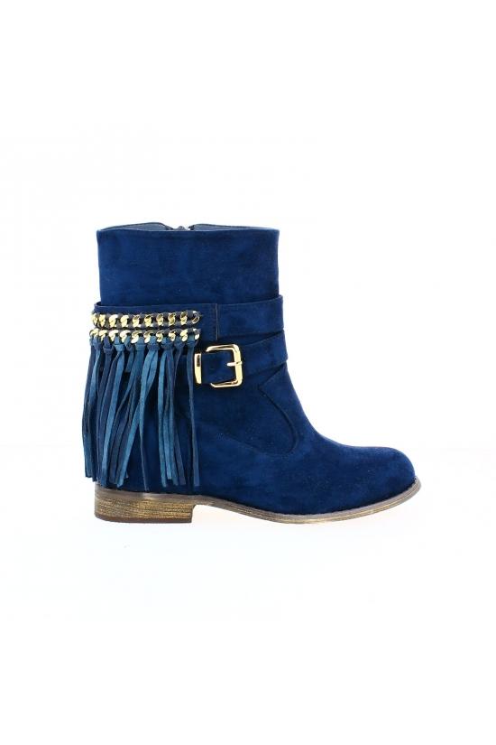 Magnifiques bottines bleues à franges et semelle intérieure
