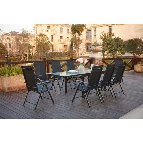 de jardin en aluminium table extensible + 8 chaises en textilène
