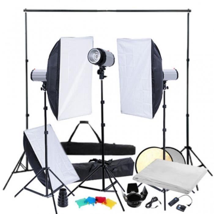 éclairage studio pro complet softbox + fond blanc photo vidéo studio