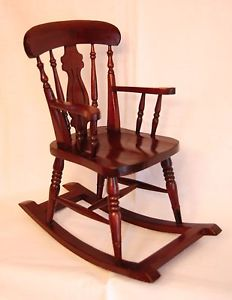 Doll chair rocking chair wooden hand made vintage