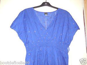 Divine Robe 123 Paris bleu taille 42 avec motifs argentés en coton