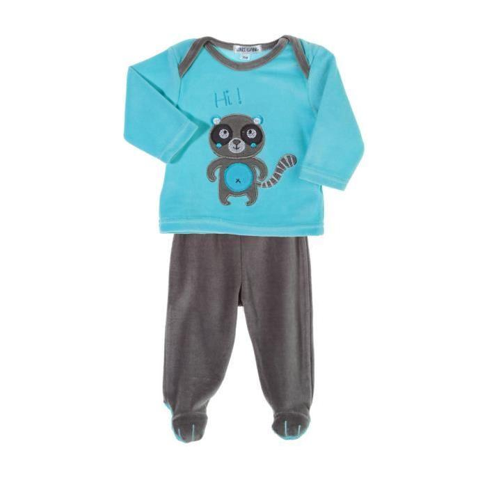 Pyjama velours broderie raton laveur Aqua Pyjama velours broderie