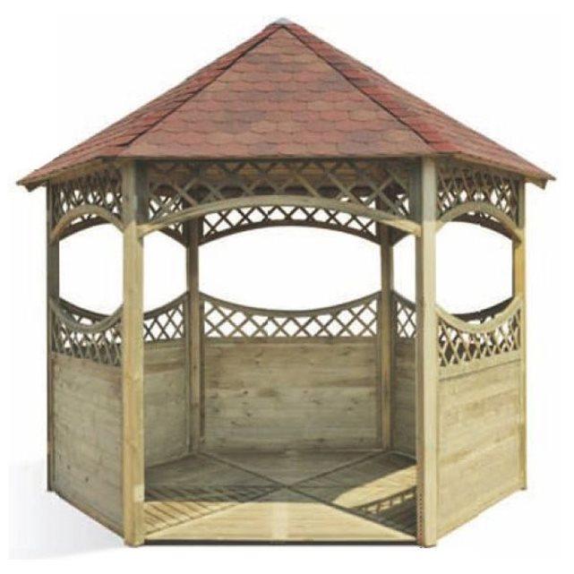Kiosque en bois avec toiture bardeau red couleur unique Jardipolys