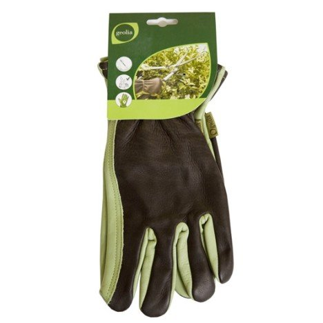 Gants de jardinage en cuir GEOLIA vert et marron, taille 9 / L | Leroy