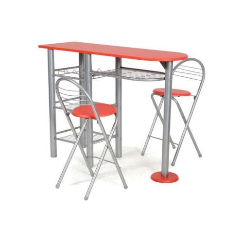 Declikdeco Ensemble Table Haute et 2 Chaises Rouge Gris, Rouge pas