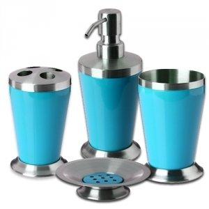 Set de 4 accessoires pour salle de bain New colours Inox Turquoise
