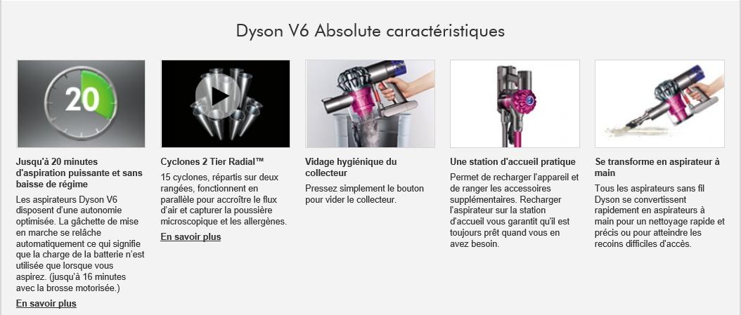 Dyson Aspirateur Balai V6 Absolute + Achat / Vente aspirateur