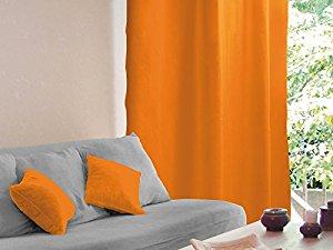 Soleil d'Ocre Rideau occultant à oeillets ALIX orange