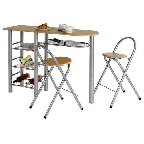 Ensemble table haute de bar et 2 chaises STYLE, 2 coloris disponibles
