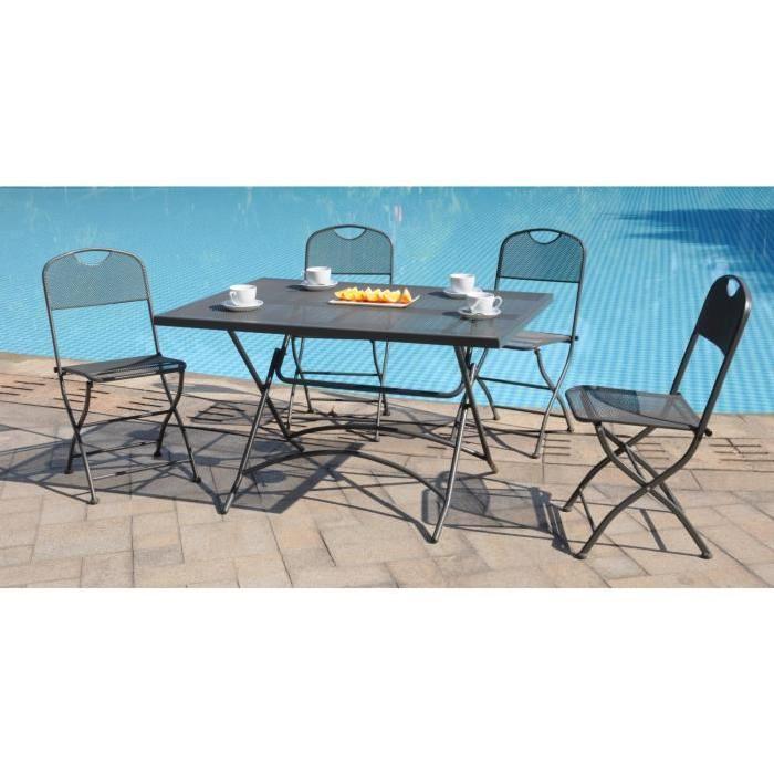 FINLANDEK Ensemble table de jardin 120 + 4 chaises gris Achat