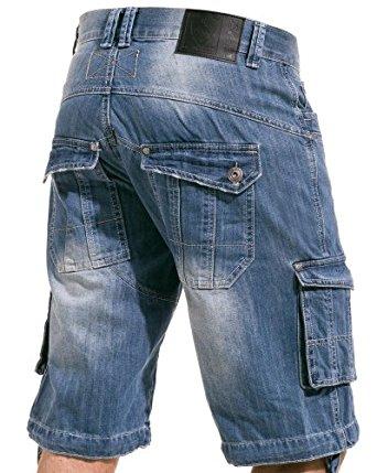 BLZ Jeans Bermuda homme en jeans délavé multipoches Couleur