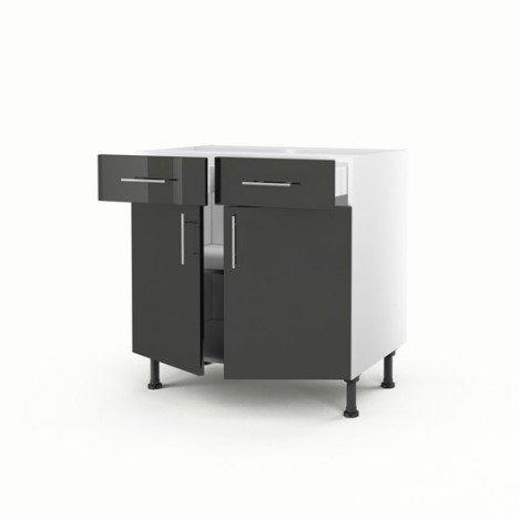 Meuble de cuisine bas gris 2 portes + 2 tiroirs Rio H.70 x l.80 x P.56