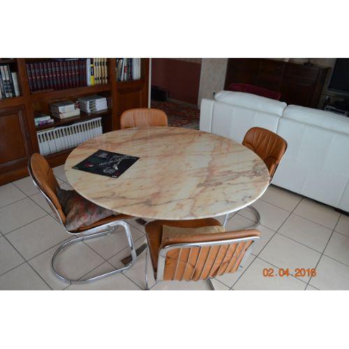 Ensemble Table Marbre Et Chaises Vintage Roche Bobois Achat et vente