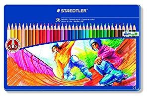 Staedtler Boite métal de 36 crayons de couleurs Couleurs assorties