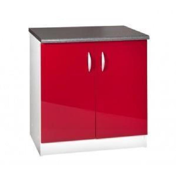 bas 80 cm sous évier OXANE rouge Meuble de cuisine bas 80 cm sous