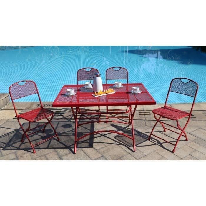 FINLANDEK Ensemble table de jardin 120 + 4 chaises rouge HIENO