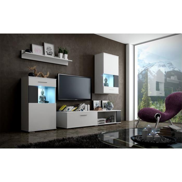 Meuble de salon, meuble TV complet PINO corps blanc mat / façades