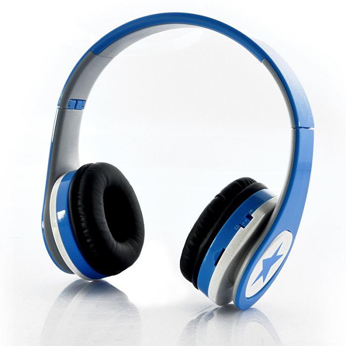 Casque sans fil pliable Lecteur MP3 Radio FM Bleu casque écouteur