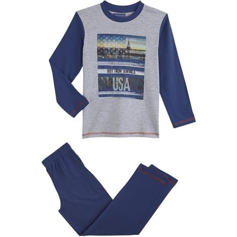 Pyjama coton Garçon du 8 au 16 ans(Gris chiné 2, 8 ans)
