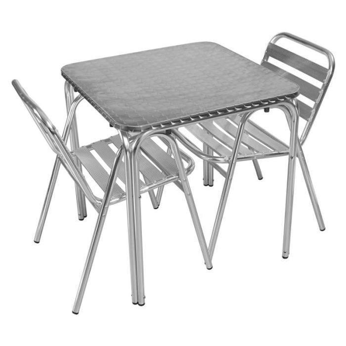 Table et chaises de jardin Salon de jardin terrasse bistro alu 2