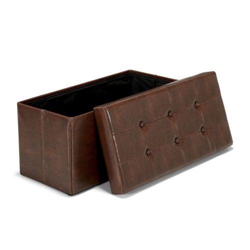 Alinéa Oliver Pouf/coffre banc coloris choco vieilli Chocolat 76