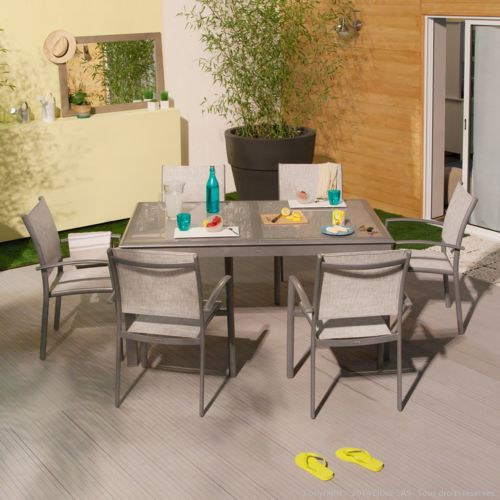 Squareline Salon de jardin 6 places en aluminium : 1 table
