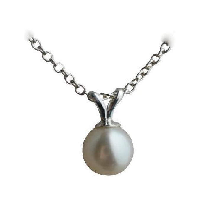 Perle de culture ronde de 6×6.5mm en argent avec chaîne Rolo de 55 cm