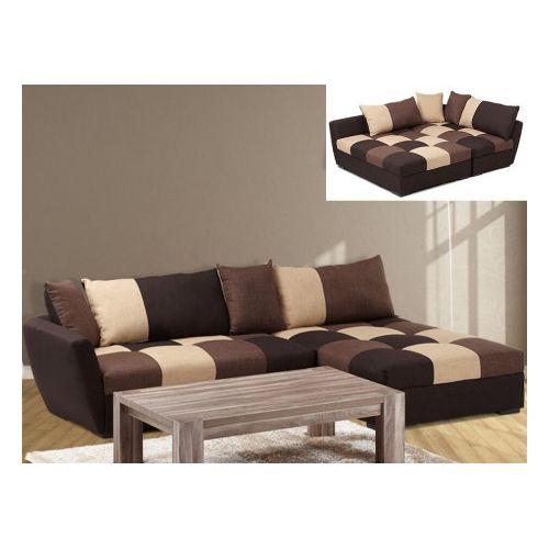 Canapé d'angle convertible en tissu Romane Chocolat Angle