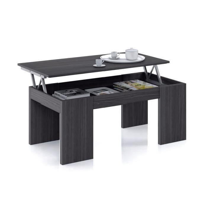 KENDRA table basse grise transformable, plateau relevable Achat