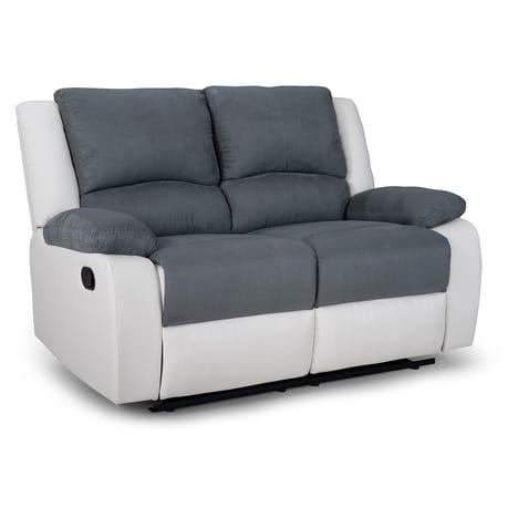 Canapé relax manuel bimatières tissu simili HELENE pas cher à prix