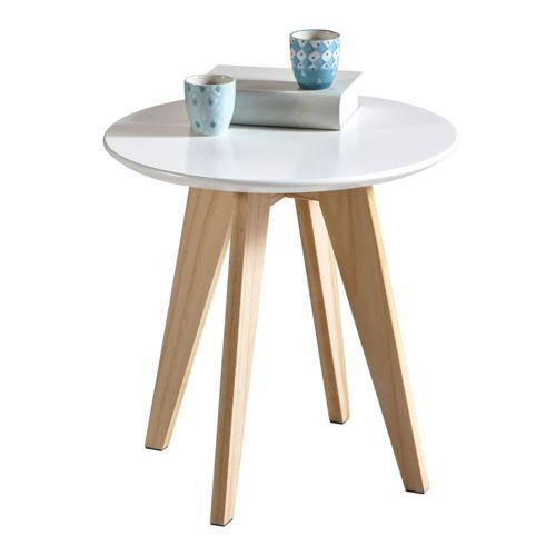 Table basse ronde en bois blanche Rondo 299019 pas cher Achat