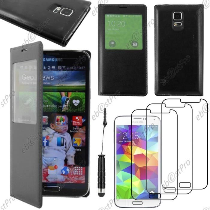 Coque view Samsung Galaxy S5 Mini SM G800 , Noir +Mini Stylet 3 Film