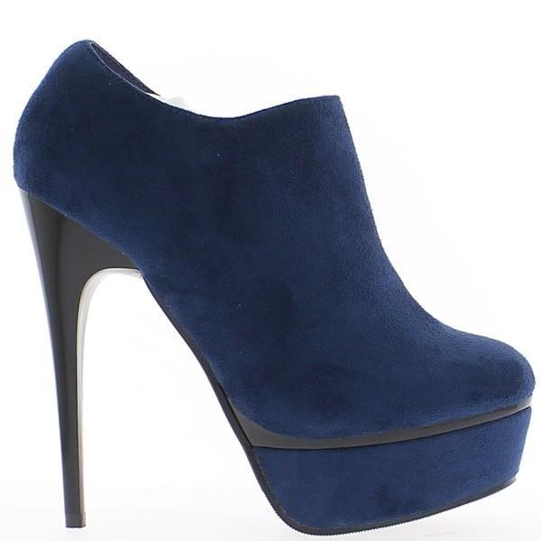 Bottines bleues à talon de 13,5cm et plateforme low boots Bottines