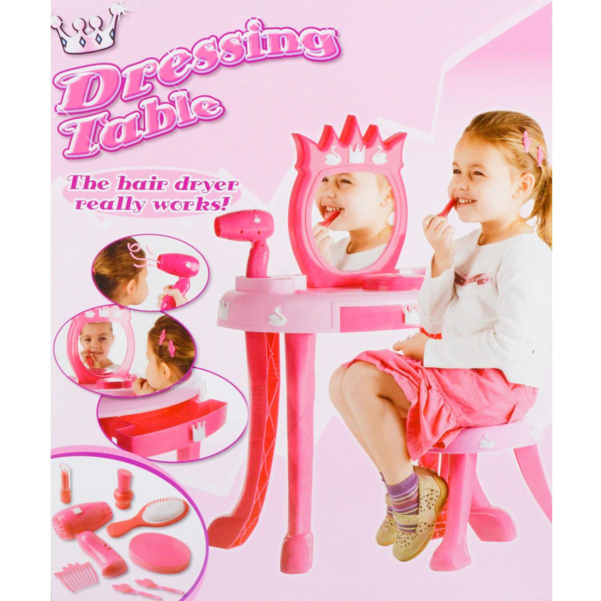 table incl. sèche cheveux enfants table coiffeuse commode miroir rose